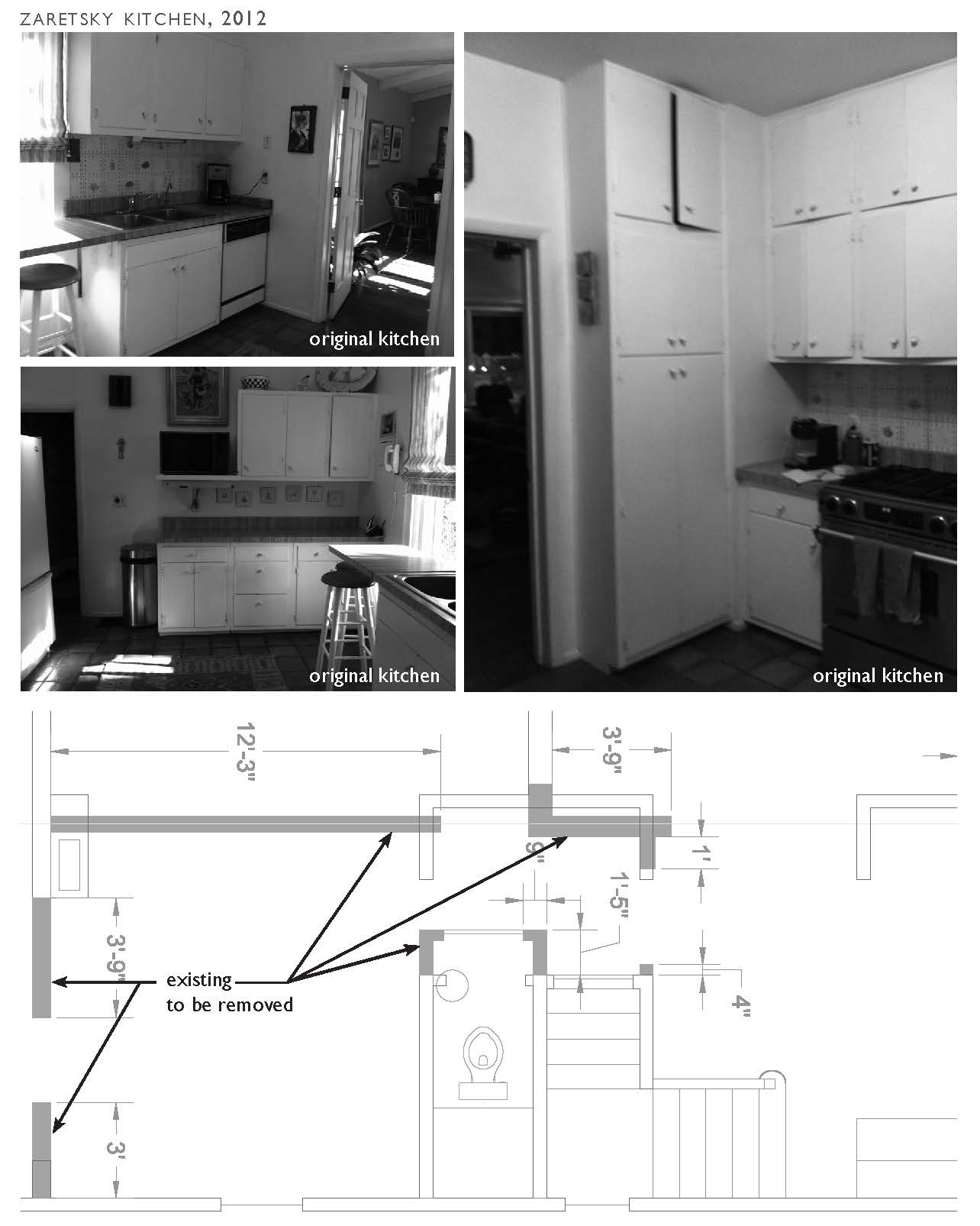 Original kitchen, bathroom and foyer layout
