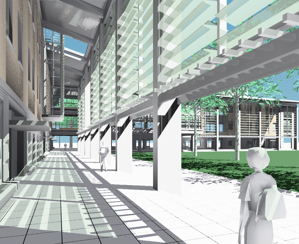 Early rendering of view in UC Merced S+E loggia