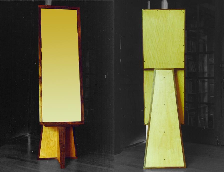 UPRIGHT MIRROR - 1992 Walnut and Birch Plywood