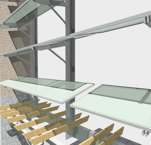 Studies of shading design in UCM S+E loggia